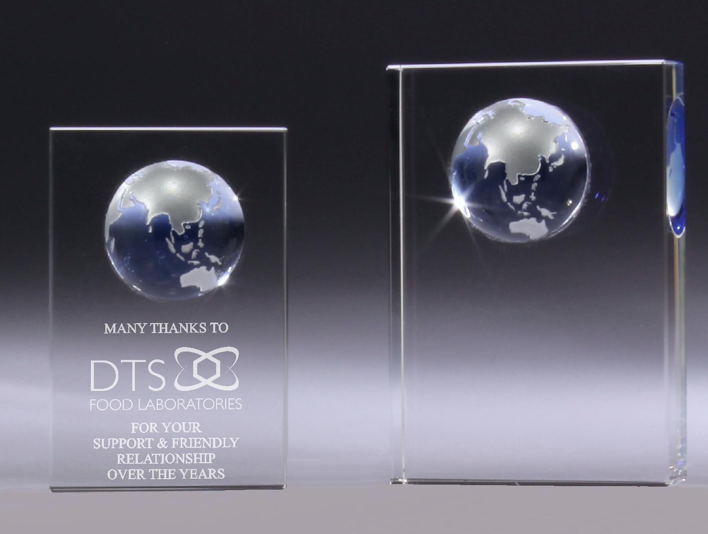 Optical Crystal Block with Blue World Globe